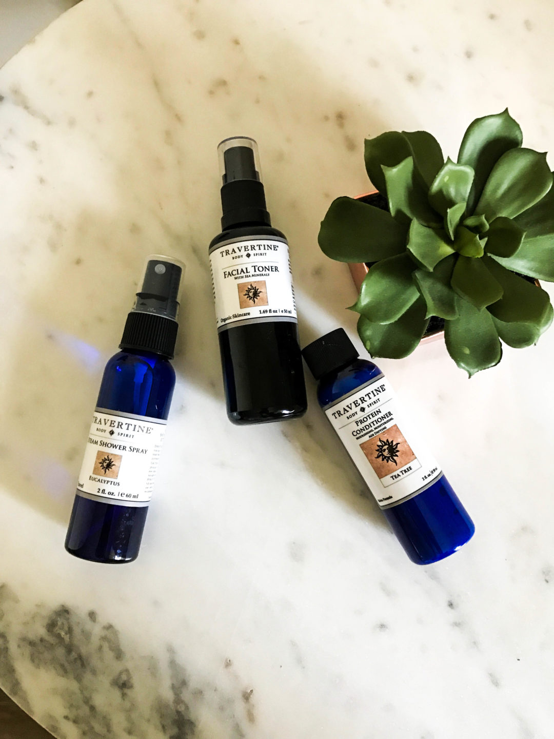 Skincare and beauty products from Travertine Spa
