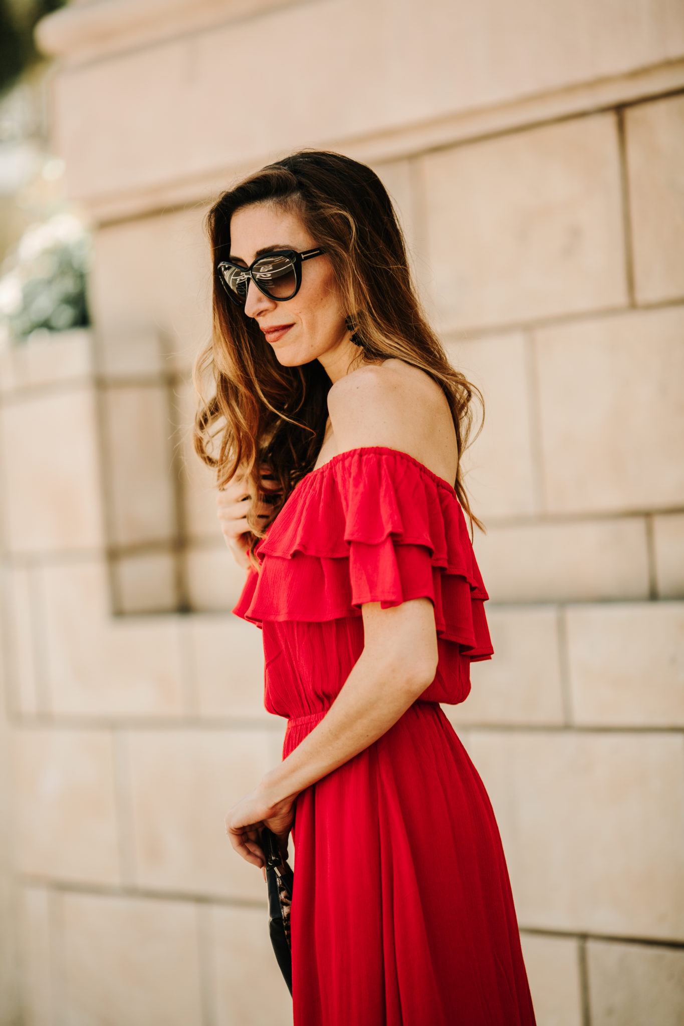 off the shoulder dress and sunglasses
