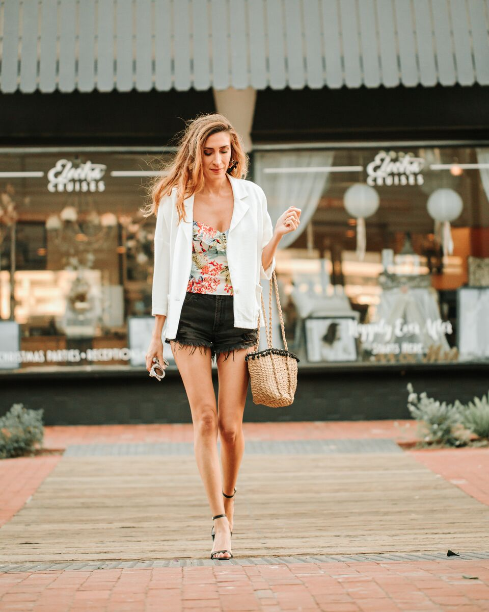 tropical print top and shorts look