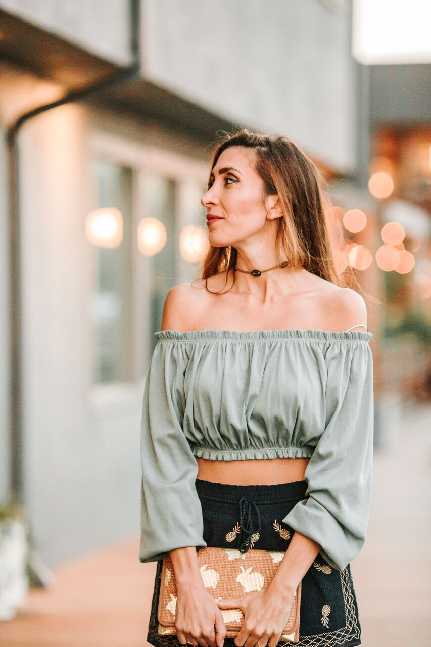 Zara off the shoulder top with choker