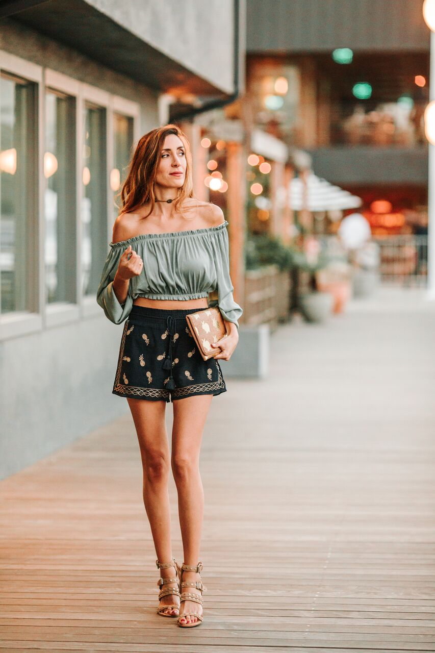 off the shoulder top with shorts