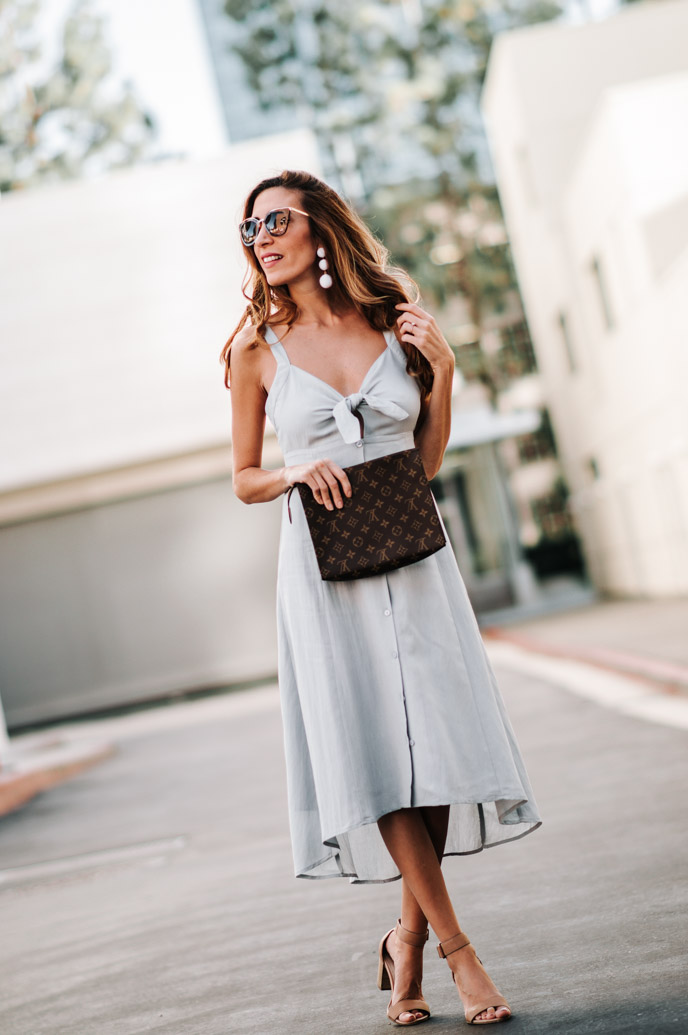 Neutral Tie-Front Midi Dress – Coffee Cups and Roses