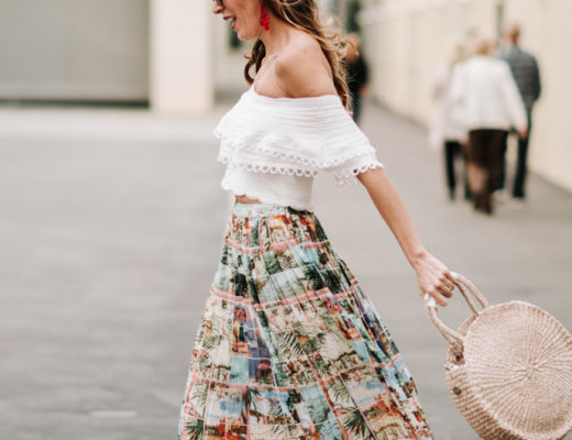 pleated skirt and off the shoulder