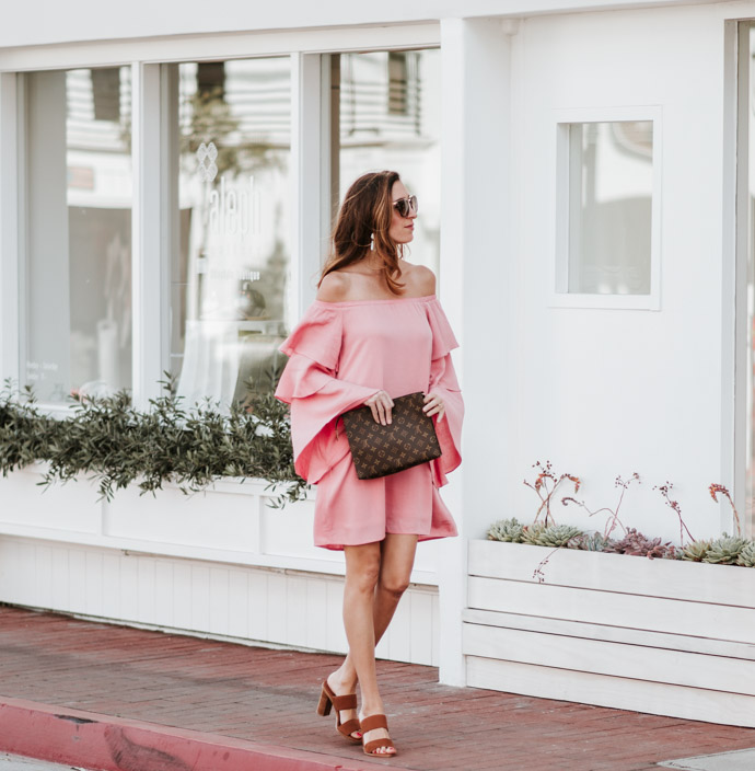 Off the shoulder peach dress chic style