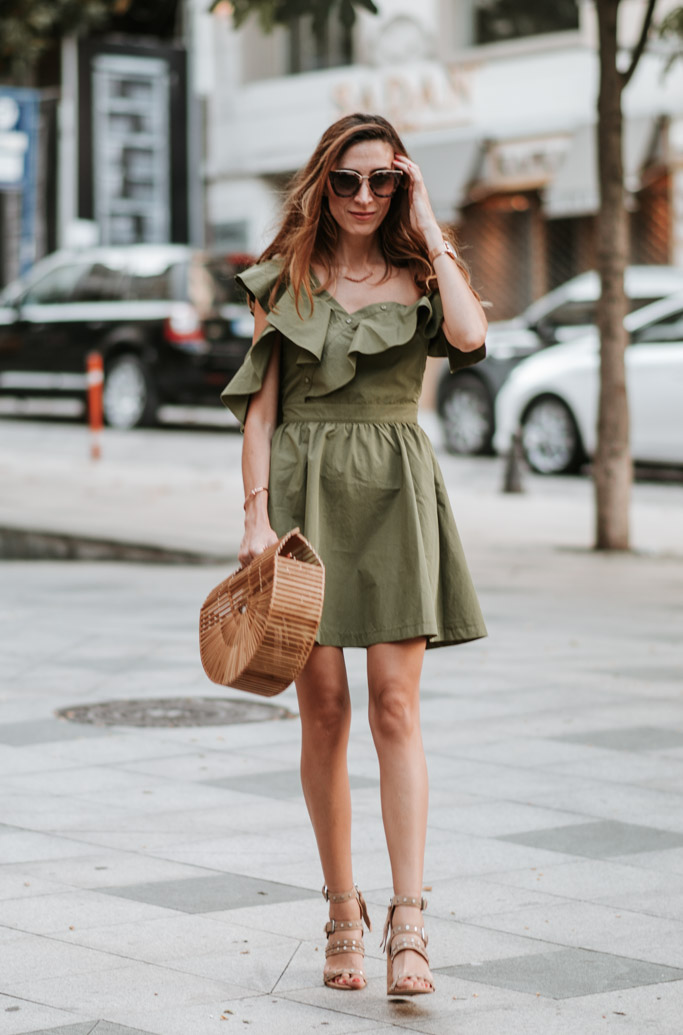 Olive Ruffle Dress