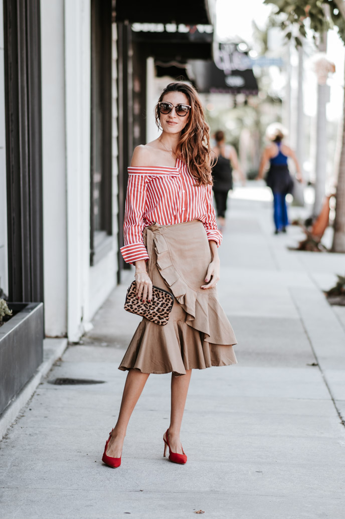striped shirt and midi skirt